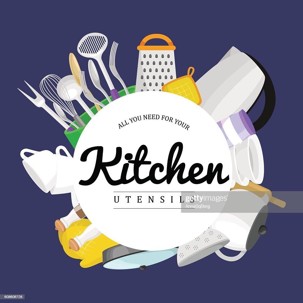 Kitchenware icons vector set.Cartoon kitchen utensil collection spoon pot