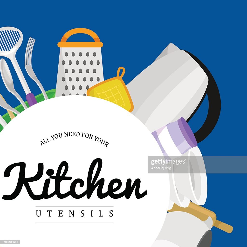 Kitchenware icons vector set.Steel kitchen household cutlery, cooking equipment