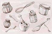 Kitchenware, illustration, sketch, doodle. Vector