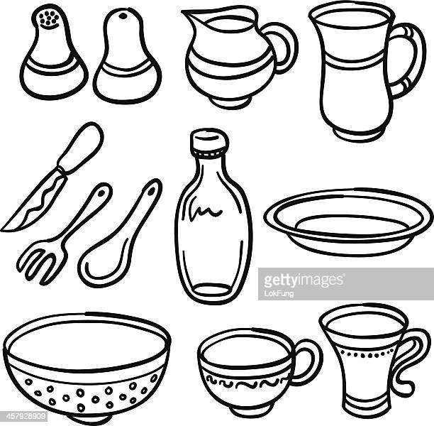 Kitchenware in black and white
