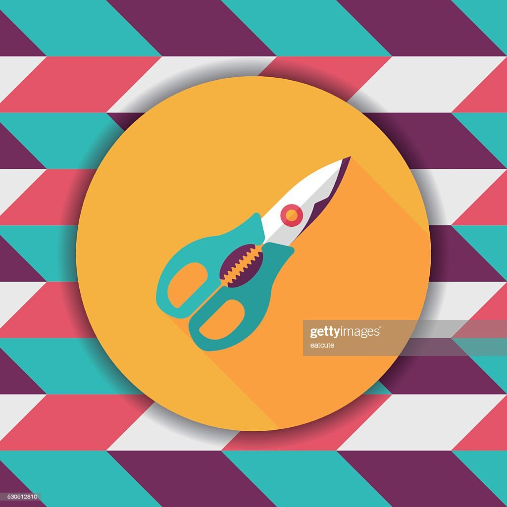 kitchenware scissors flat icon with long shadow,eps10