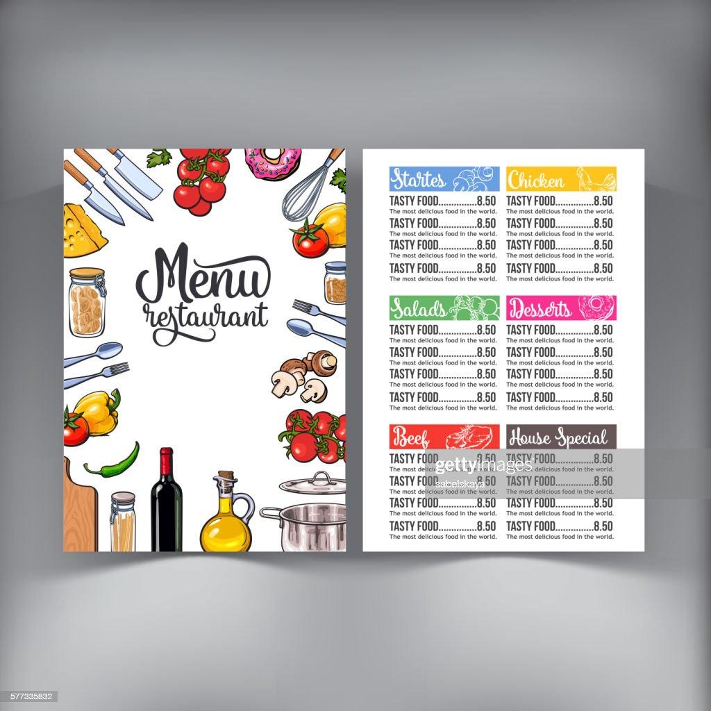 Kitchenware, vegetables and cutlery menu design