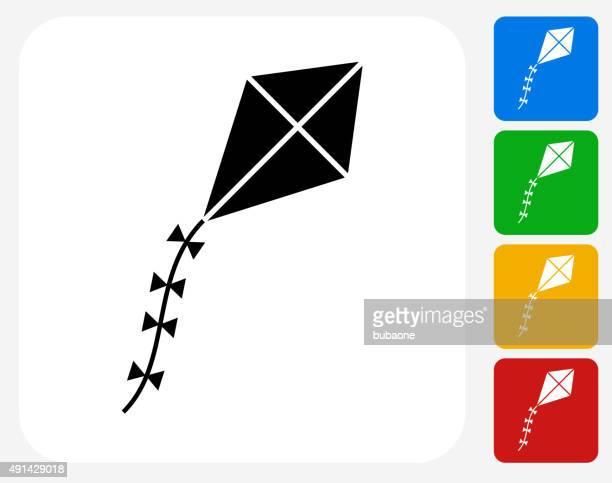 kite icon flat graphic design - kite toy stock illustrations, clip art, cartoons, & icons