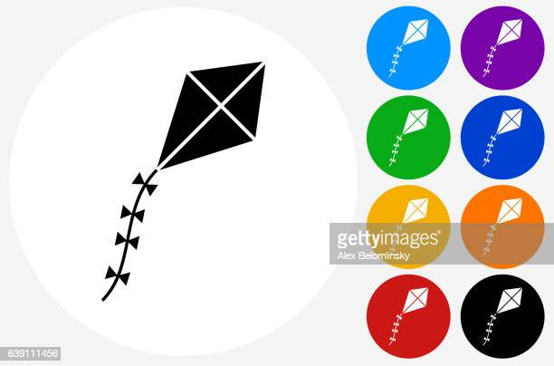 kite icon on flat color circle buttons - kite toy stock illustrations, clip art, cartoons, & icons