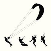 Kite Surfing Vector Silhouette