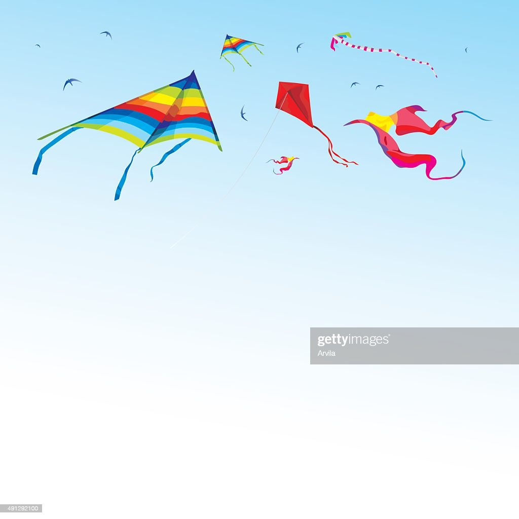 Kites and birds in the sky - vector