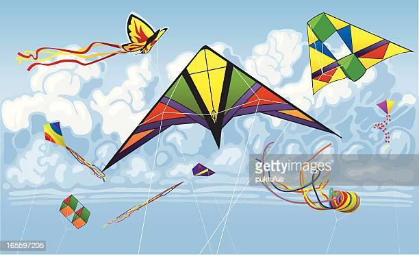 kites flying through the summer sky - kite toy stock illustrations, clip art, cartoons, & icons
