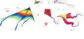 Kites on the white background - vector