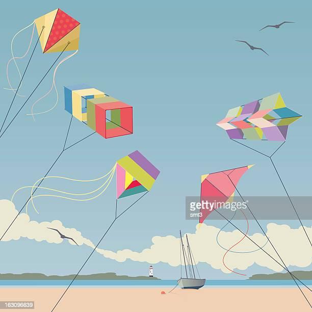kites - kite toy stock illustrations, clip art, cartoons, & icons
