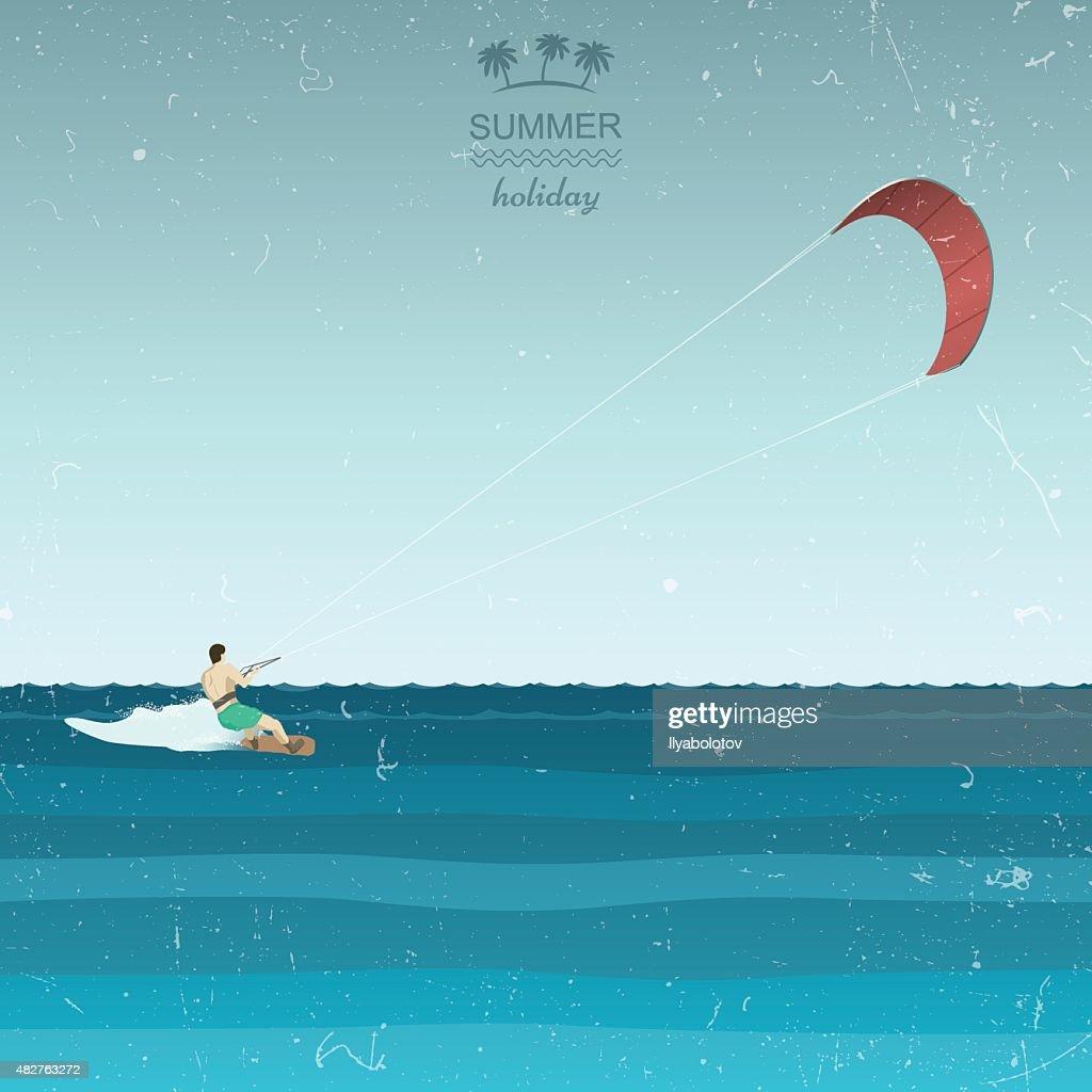 Kitesurfing illustration in retro style