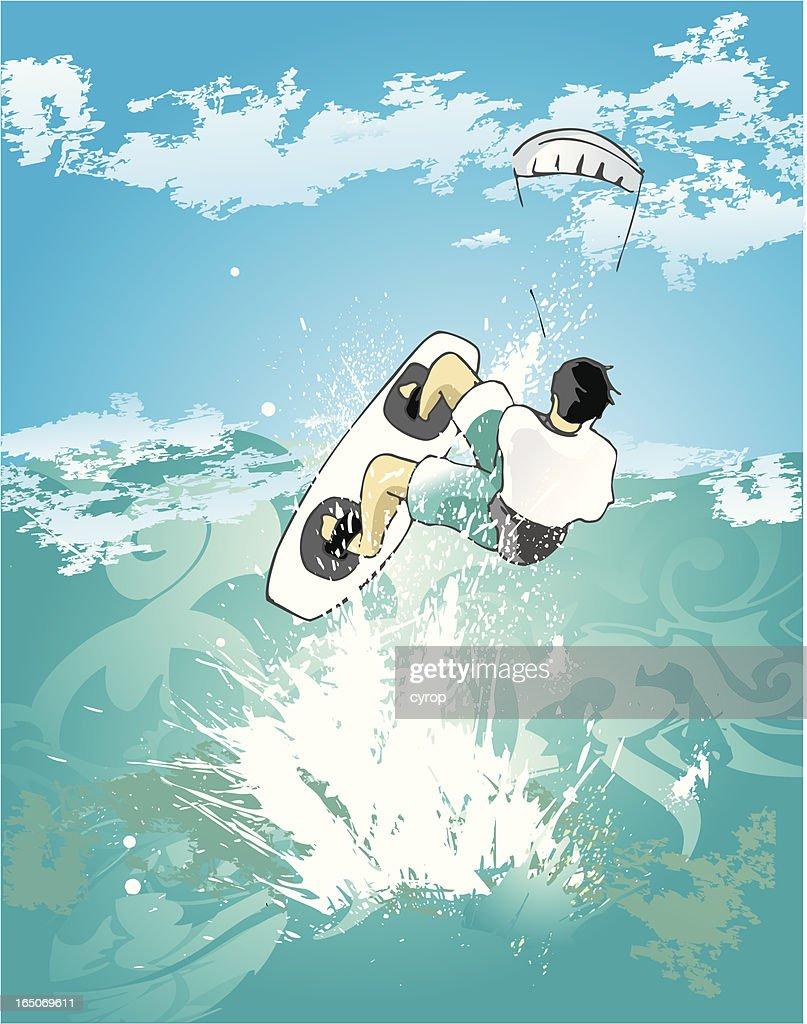 kitesurfing on open sea