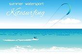Kitesurfing summer watersport concept