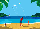 Kiting on sea beach