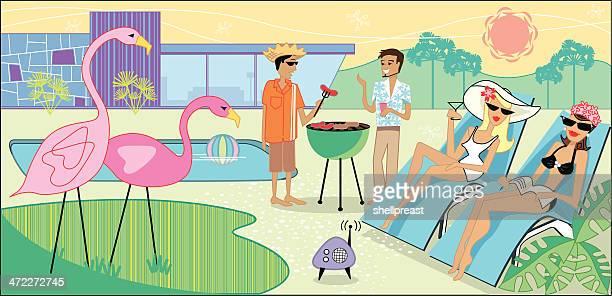 kitsch bbq - flamingo stock illustrations, clip art, cartoons, & icons
