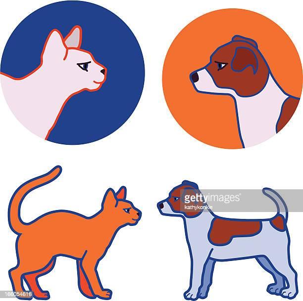 illustrations, cliparts, dessins animés et icônes de chaton et chiot - chat profil