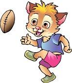 kitten play football