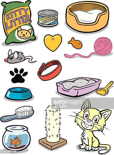 kitten stuff - cat food stock illustrations