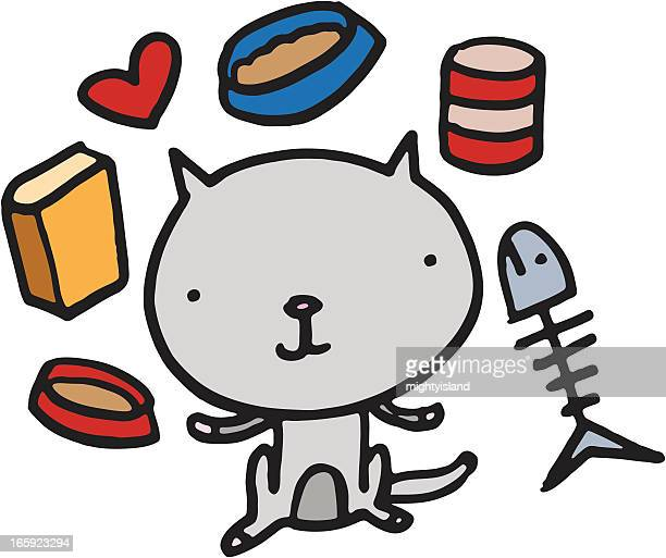 kitten with cat food - cat food stock illustrations
