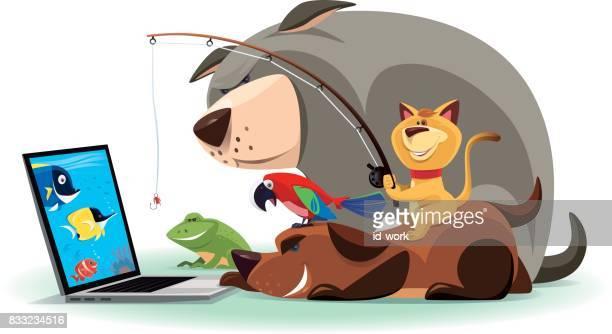 illustrations, cliparts, dessins animés et icônes de kitty et amis de pêche par internet - chat humour