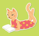 Kitty lay and read