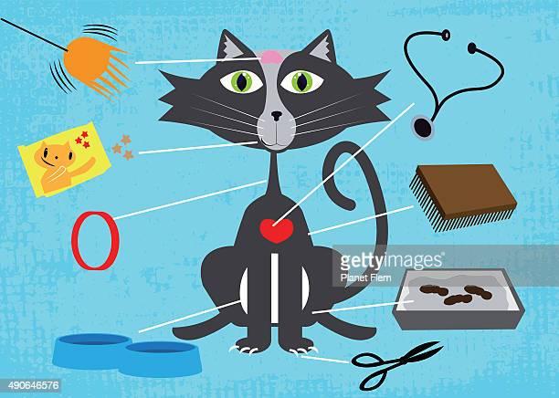 kitty needs - cat food stock illustrations