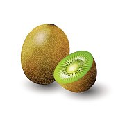 Kiwi and a half of kiwi, fruit, transparent, Vector