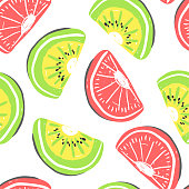 Kiwi and grapefruit seamless pattern. Fresh kiwi and grapefruit, tropical fruits summer detox