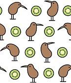 kiwi bird and fruit pattern