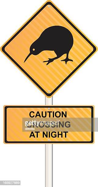 kiwi crossing at night sign - crossing sign stock illustrations, clip art, cartoons, & icons