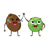 Kiwi. Cute fruit vector character couple isolated on white background