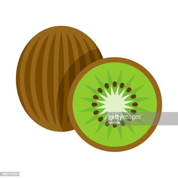 kiwi flat design fruit icon - kiwi fruit stock illustrations