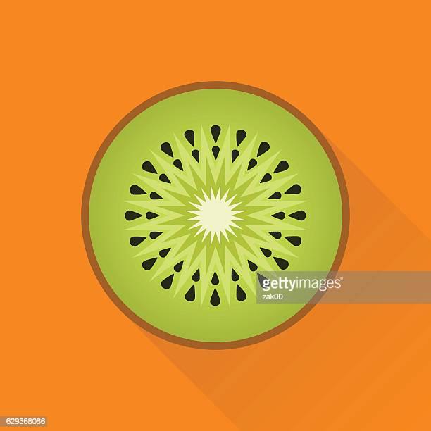 ilustrações de stock, clip art, desenhos animados e ícones de quivi ícone plano - fruta kiwi