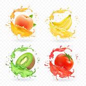 Kiwi fruit, banana, tomato, peach apricot juice. Realistic fresh splashes vector fruits icon set