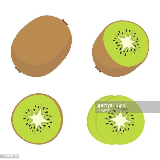 kiwi fruit icon set vector design. - kiwi fruit stock illustrations