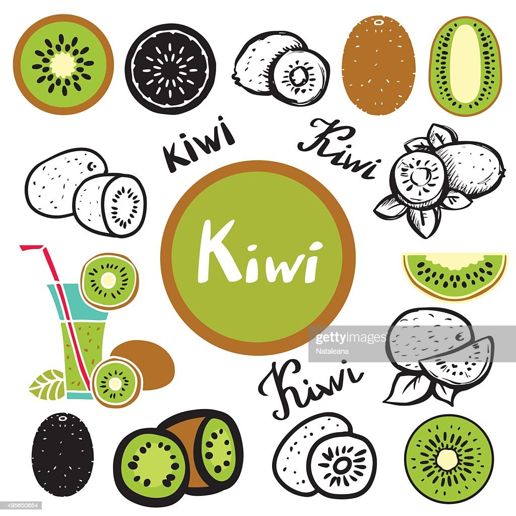 Kiwi fruit, leafs, juice