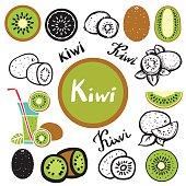 Kiwi fruit, leafs, juice