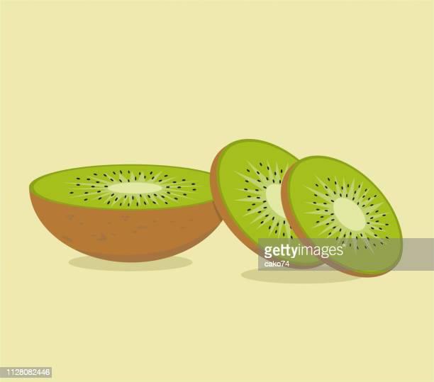 ilustrações de stock, clip art, desenhos animados e ícones de kiwi fruit vector illustration - fruta kiwi