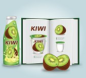 Kiwi fruits .Vector illustration.