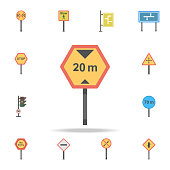 20 km speed limit colored icon. Detailed set of color road sign icons. Premium graphic design. One of the collection icons for websites, web design, mobile app