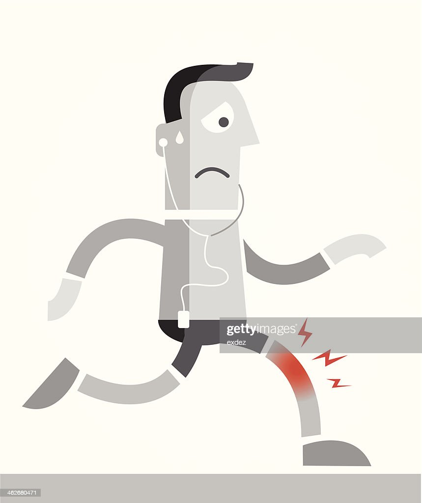 Knee pain while jogging : stock illustration
