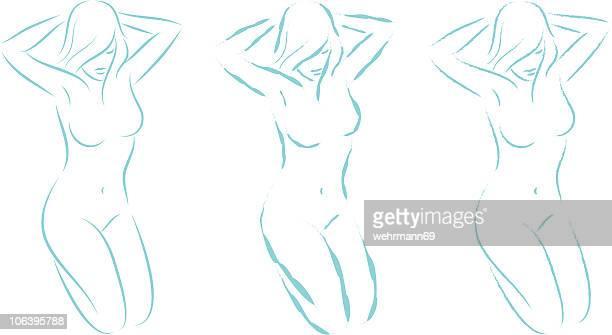 illustrazioni stock, clip art, cartoni animati e icone di tendenza di inginocchiarsi donna 04 - donna nuda