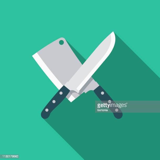 illustrations, cliparts, dessins animés et icônes de couteau et cleaver arme icône - couteau de cuisine