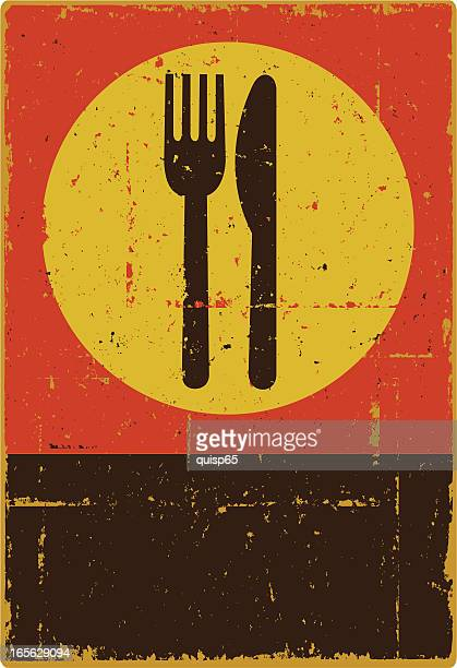 knife and fork - woodcut stock illustrations