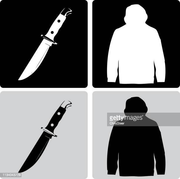 ナイフ犯罪 - 刺傷事件点のイラスト素材/クリップアート素材/マンガ素材/アイコン素材