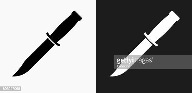 Knife Icon on Black and White Vector Backgrounds