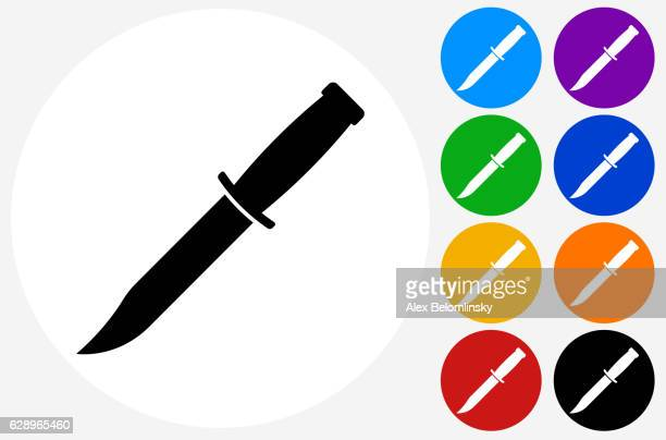 Knife Icon on Flat Color Circle Buttons