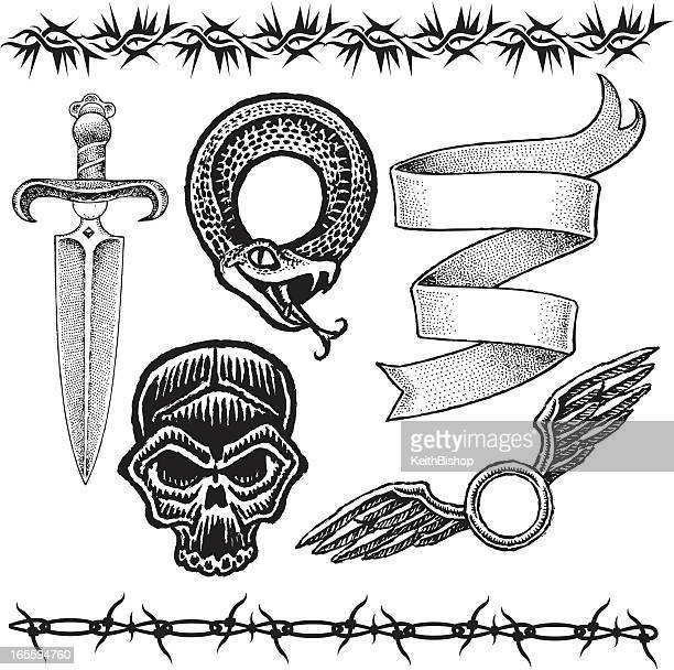 knife, skull, snake, barbed wire, ribbon, wings tattoo designs - dagger stock illustrations