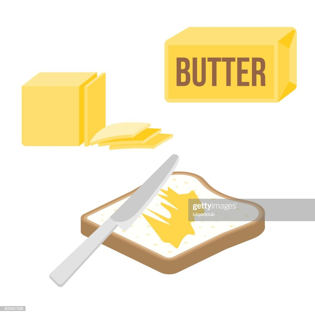 knife spreading butter or margarine on slice of toast bread and bar of butter