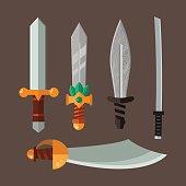 Knife weapon dangerous metallic vector illustration of sword spear edged set