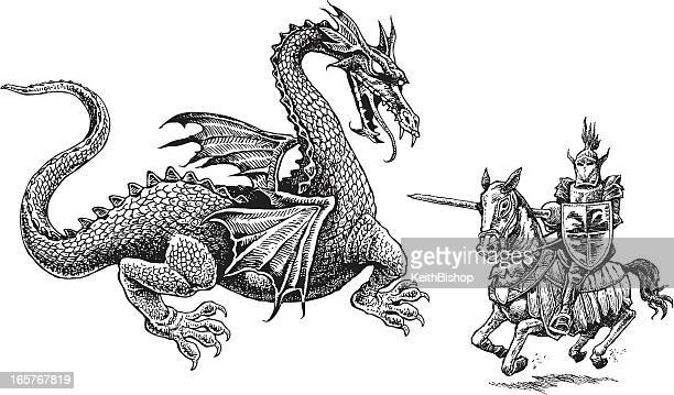 knight and dragon - medieval - dragon stock illustrations